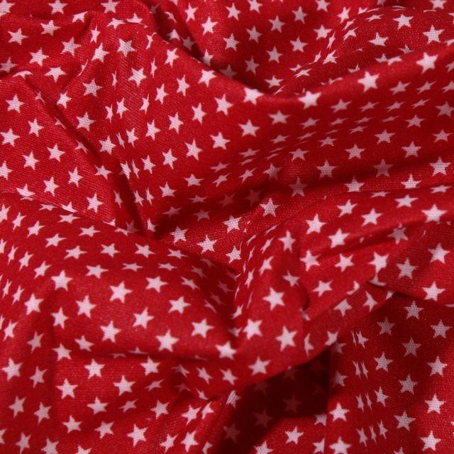 Tissu Coton enduit Mini étoiles blanches sur fond Rouge - Par 10 cm
