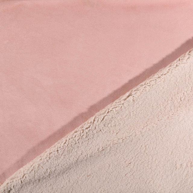 Tissu Suédine épaisse envers Mouton Rose pâle - Par 10 cm