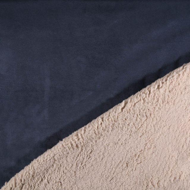 Tissu Suédine épaisse envers Mouton Bleu denim - Par 10 cm
