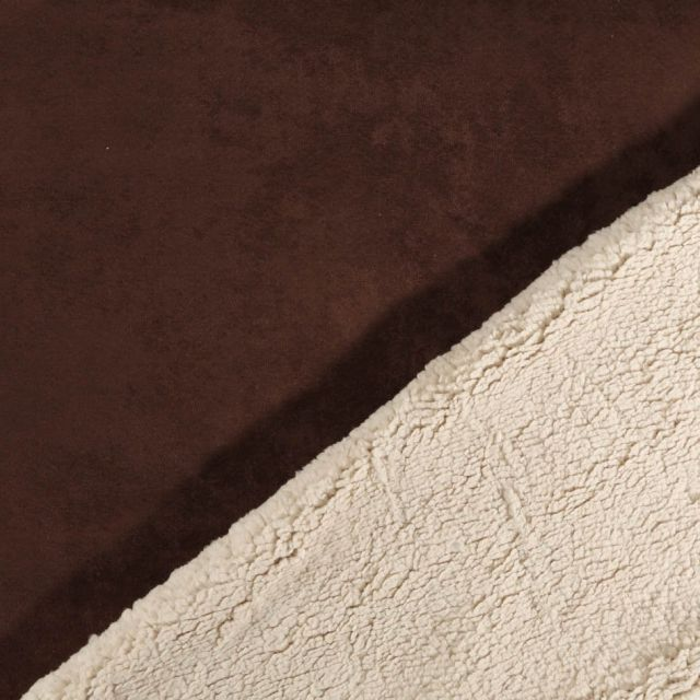 Tissu Suédine épaisse envers Mouton Marron chocolat - Par 10 cm