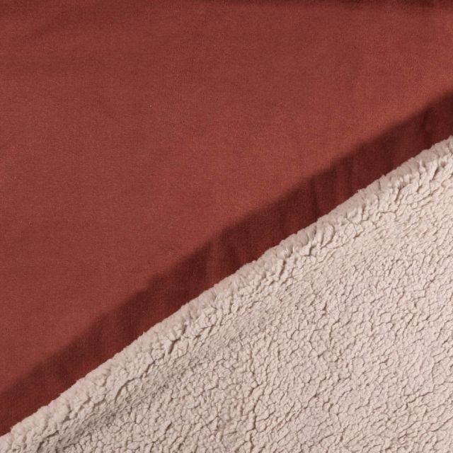 Tissu Suédine épaisse envers Mouton Brique - Par 10 cm