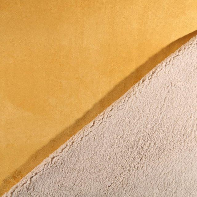 Tissu Suédine épaisse envers Mouton Moutarde - Par 10 cm