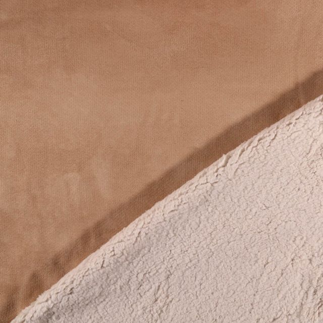 Tissu Suédine épaisse envers Mouton Camel - Par 10 cm