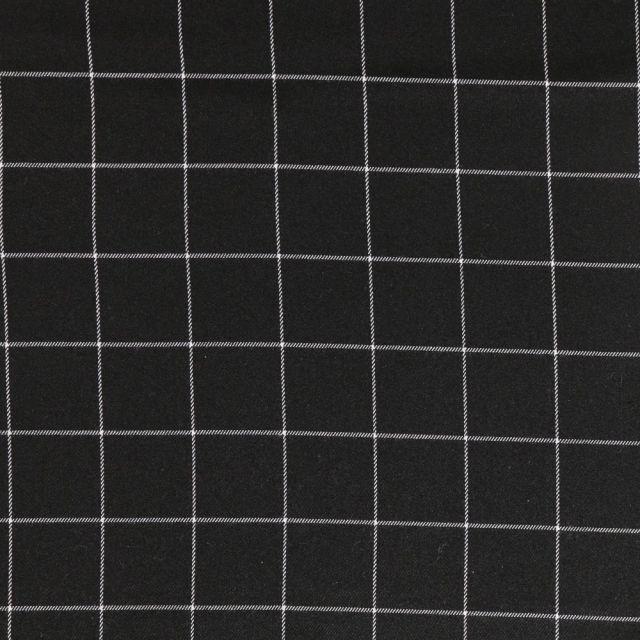 Tissu Gabardine de Viscose à carreaux Blanc sur fond Noir - Par 10 cm