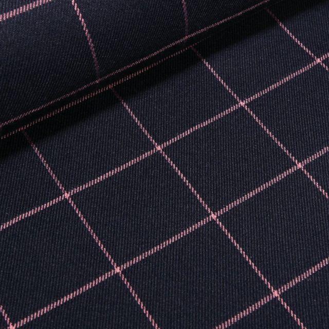 Tissu Gabardine de viscose Carreaux rose sur fond Bleu marine - Par 10 cm