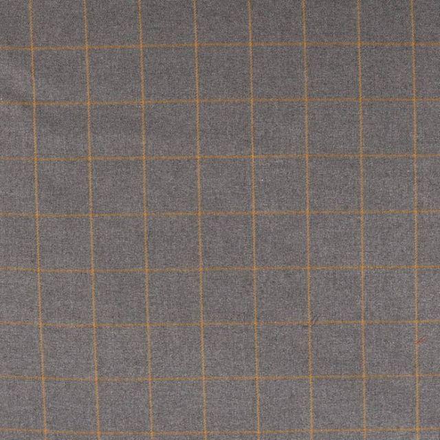 Tissu Gabardine Viscose  Carreaux Jaune sur fond Gris - Par 10 cm