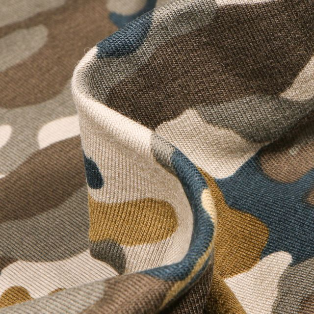 Tissu Jersey coton US Camouflages sur fond Marron
