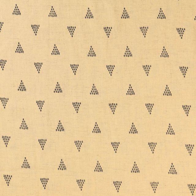 Tissu Lin Viscose Triangles Noirs sur fond Jaune paille - Par 10 cm