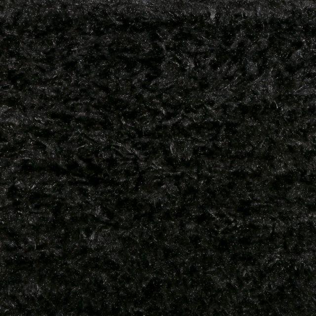 Tissu Fausse fourrure longs poils Noir - Par 10 cm