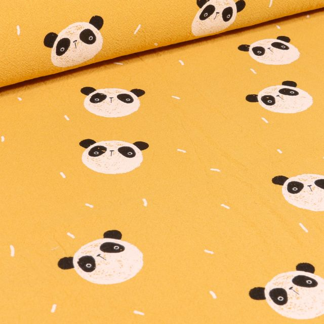 Tissu Coton lavé Têtes de Pandas sur fond Jaune