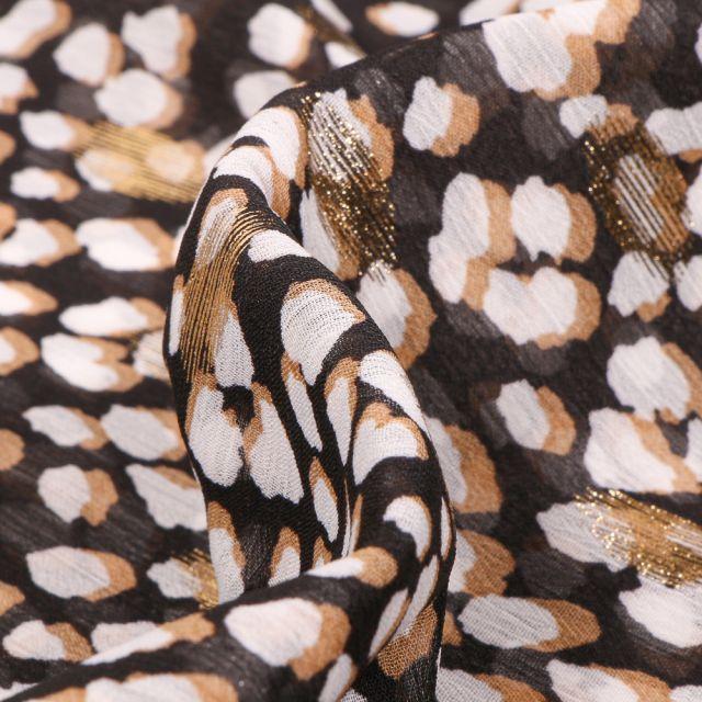 Tissu Mousseline Taches blanches beige et dorés sur fond Noir