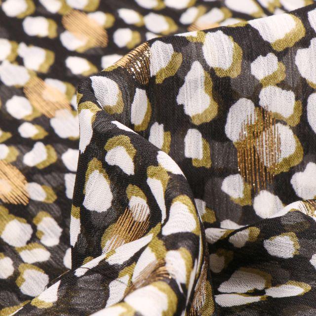 Tissu Mousseline Taches blanches anis et dorés sur fond Noir