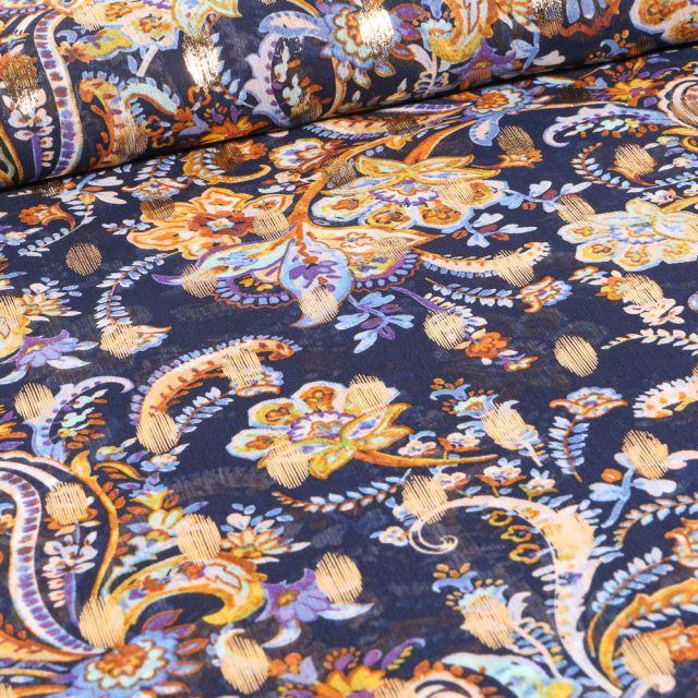 Tissu Mousseline Arabesques fleuris sur fond Bleu marine