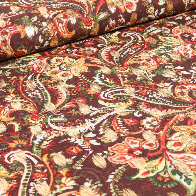 Tissu Mousseline Arabesques fleuris sur fond Marron