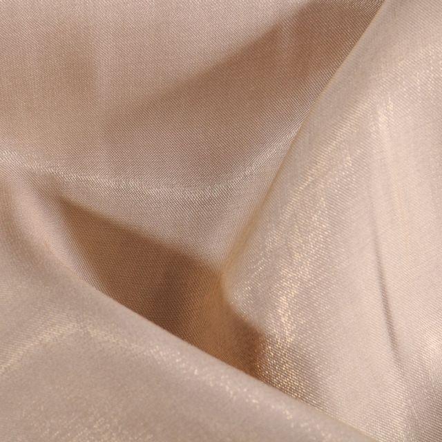 Tissu Taffetas d'habillement Reflets Or sur fond Naturel - Par 10 cm