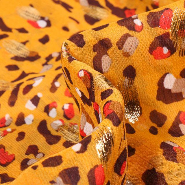 Tissu Voile Polyester Tâches léopard lurex sur fond Jaune