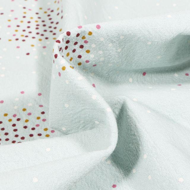 Tissu Coton lavé Mini confettis sur fond Vert menthe clair