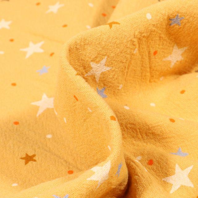Tissu Coton lavé Etoiles et pois sur fond Jaune