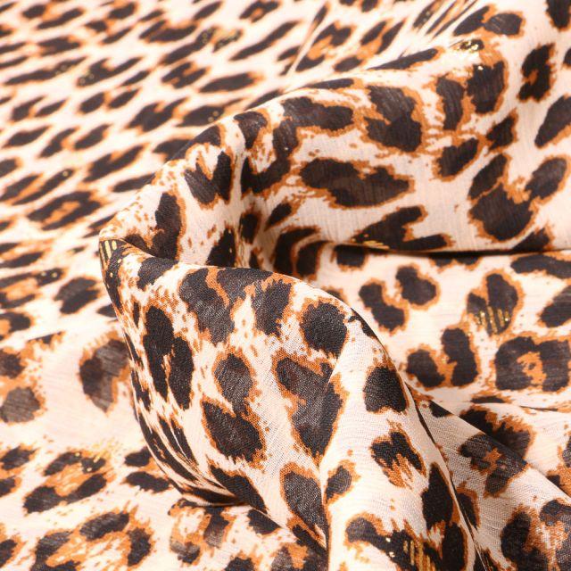 Tissu Mousseline lurex Léopard sur fond Beige