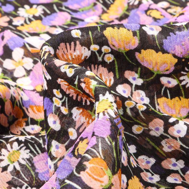 Tissu Mousseline Fleurs des champs lila sur fond Noir