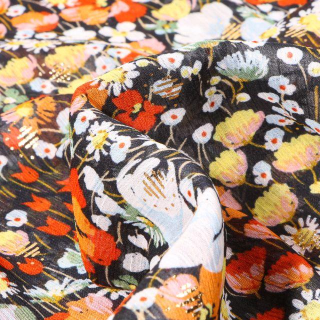 Tissu Mousseline Fleurs des champs jaune sur fond Noir
