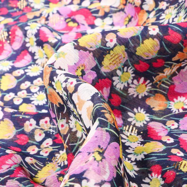 Tissu Mousseline Fleurs des champs rose sur fond Bleu marine