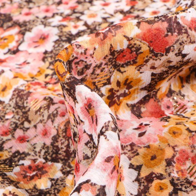 Tissu Voile Polyester Milles et une fleurs sur fond Marron