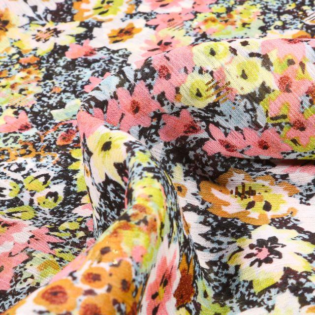 Tissu Voile Polyester Milles et une fleurs sur fond Bleu