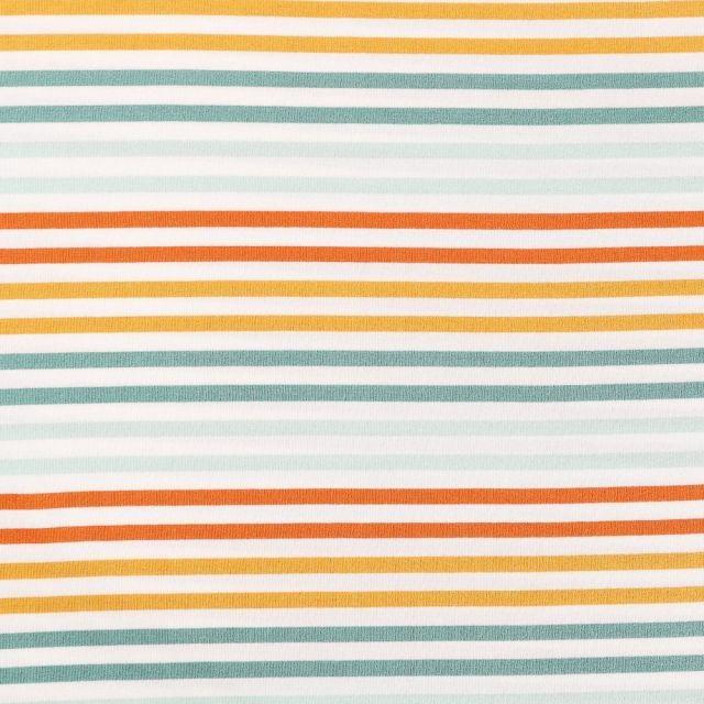 Tissu Jersey Modal Rayé vert, orange et moutarde sur fond Blanc - Par 10 cm