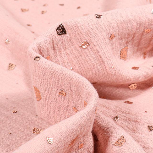 Tissu Double gaze Losanges destructurés sur fond Rose pastel