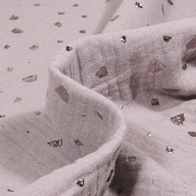 Tissu Double gaze Losanges destructurés sur fond Gris clair