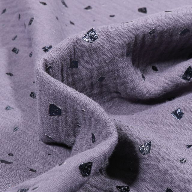 Tissu Double gaze Losanges destructurés sur fond Bleu gris