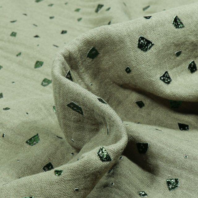 Tissu Double gaze Losanges destructurés vert sapin sur fond Vert