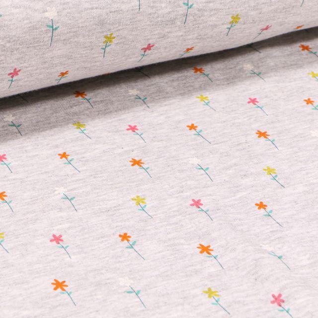 Tissu Sweat envers minky Petites fleurs colorés sur fond Gris chiné
