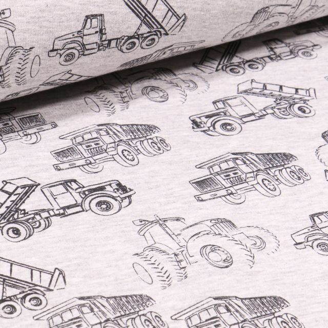 Tissu Sweat envers minky Engins de chantier sur fond Gris chiné