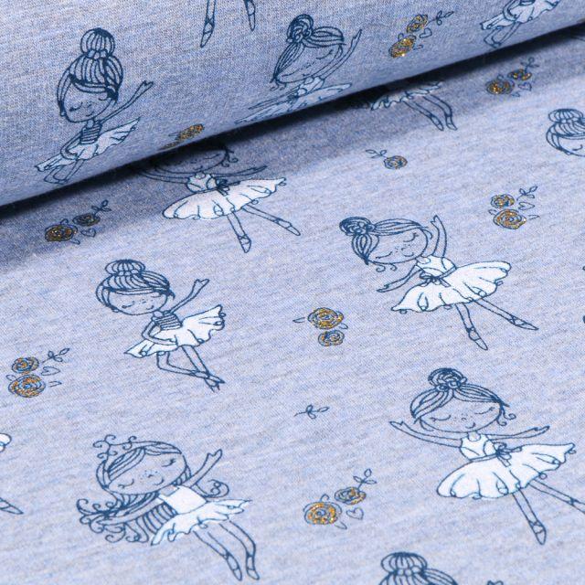 Tissu Sweat envers minky Ballerines en tutu bleu sur fond Bleu chiné