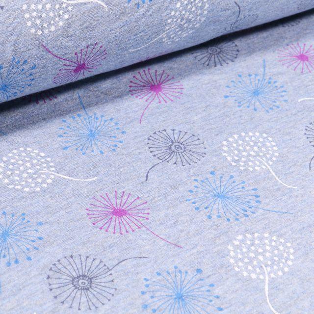 Tissu Sweat envers minky Pissenlits multicolores sur fond Bleu chiné