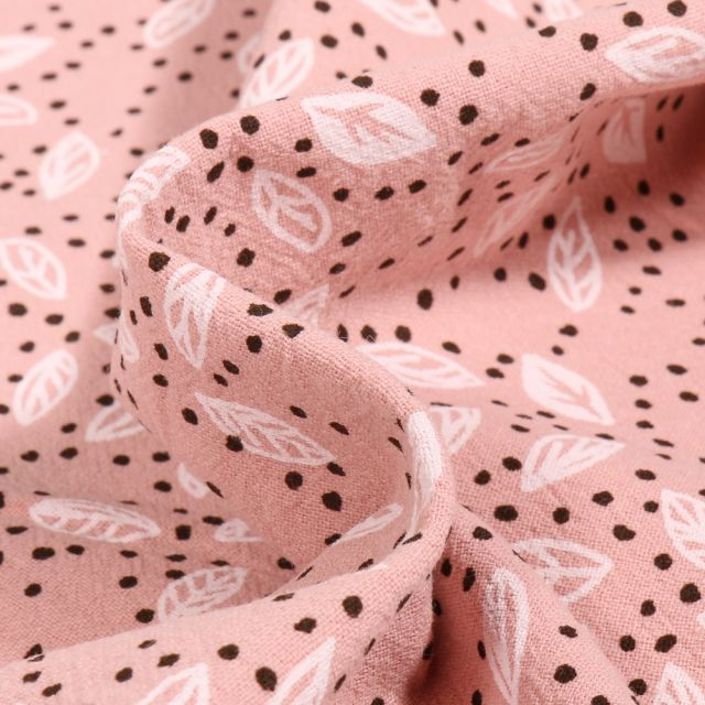 Tissu Coton lavé Feuilles et pois sur fond Rose