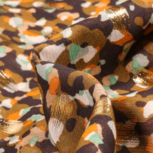 Tissu Mousseline lurex Taches menthe et orange sur fond Noir