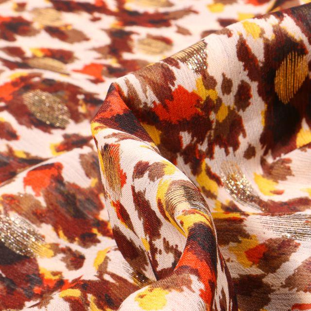 Tissu Mousseline lurex Adrienne orange sur fond Beige
