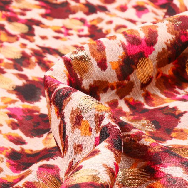 Tissu Mousseline lurex Adrienne rose sur fond Beige