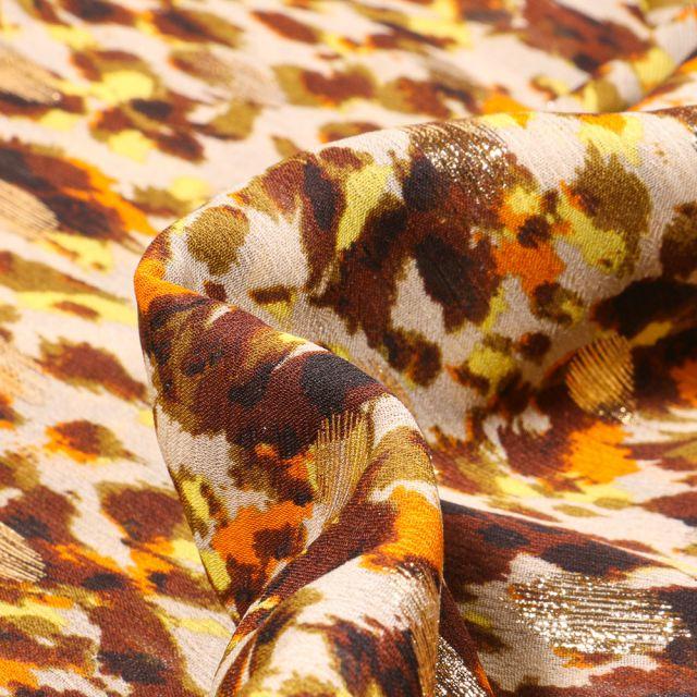 Tissu Mousseline lurex Adrienne jaune sur fond Beige