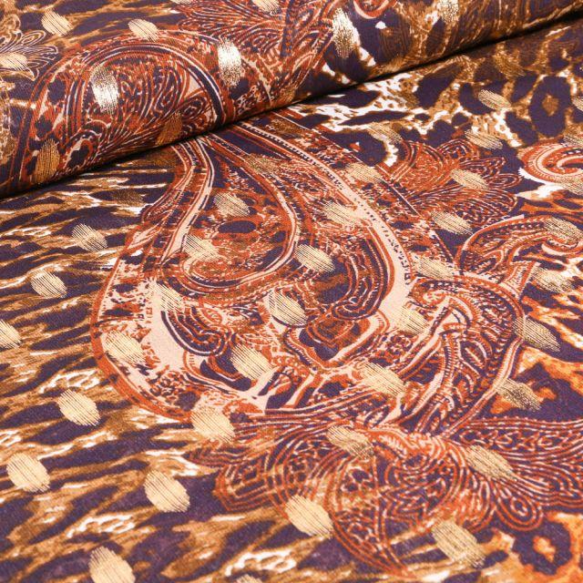 Tissu Mousseline Motifs cachemire lurex sur fond Jaune