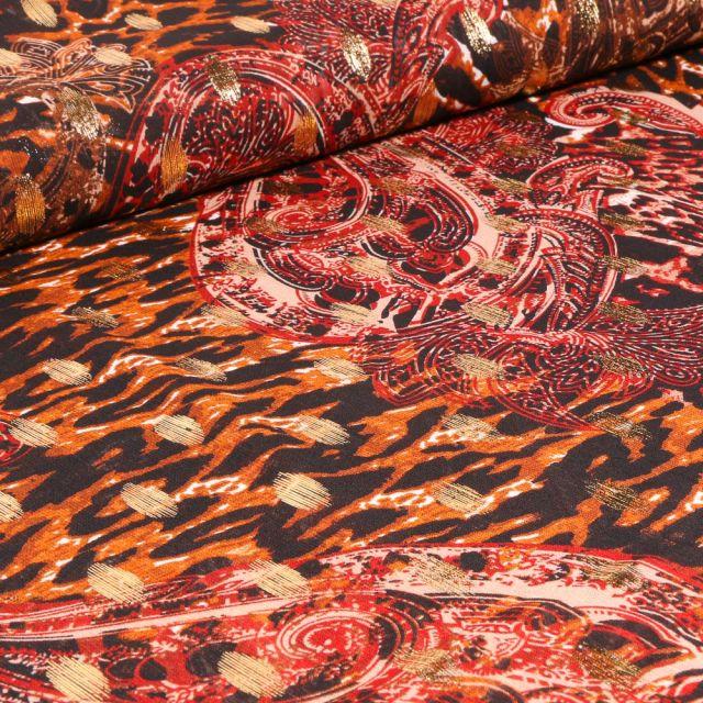 Tissu Mousseline Motifs cachemire lurex sur fond Orange