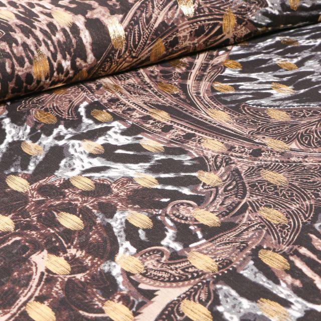 Tissu Mousseline Motifs cachemire lurex sur fond Noir
