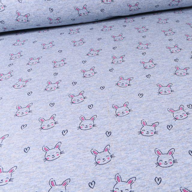 Tissu Sweat envers minky Têtes de lapins et coeurs sur fond Bleu chiné