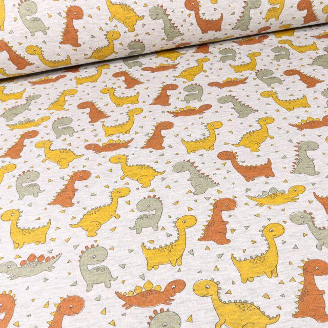 Tissu Sweat envers minky Bio Dino colorés sur fond Gris chiné