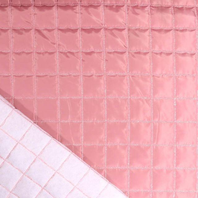 Tissu Doublure matelassée carreaux Lurex argent sur fond Vieux rose - Par 10 cm