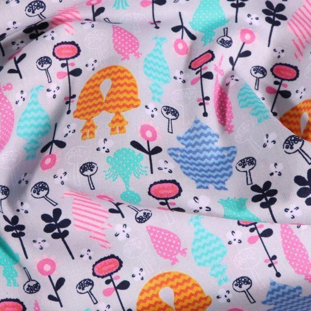 Tissu Coton imprimé Trolls DreamWorks sur fond Gris - Par 10 cm