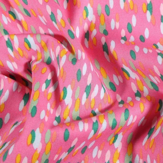 Tissu Coton imprimé Gouttelettes colorées sur fond Rose - Par 10 cm